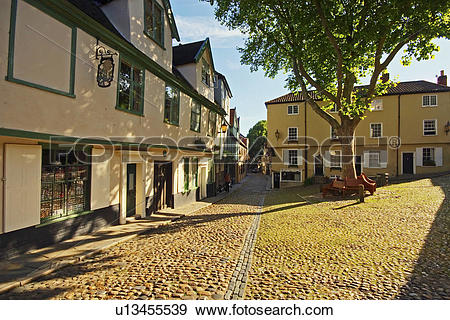 Stock Photograph of England, Norfolk, Norwich, The cobbled streets.