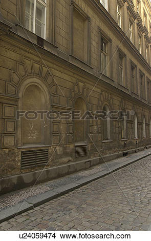 Stock Photo of Cobbled stone street in Prague u24059474.
