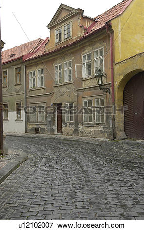 Picture of Cobbled stone street in Prague u12102007.