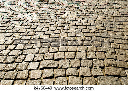 Stock Photograph of Old road paved with the cobble stones k4760449.