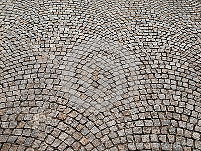 Cobbled Pavement Made Of Granite Cubes Stock Photo.