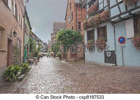Drawings of Old European cobbled street, Alsace, France.