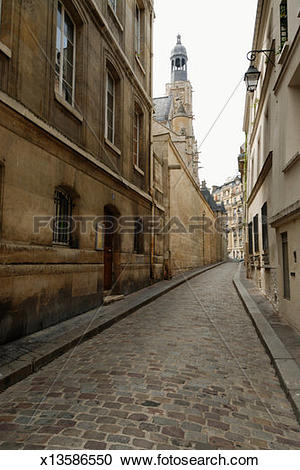 Stock Photography of Cobbled street, perspective view x13586550.