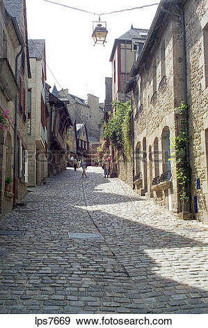 Stock Photograph of jerzual medevial cobbled street old town dinan.