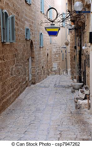 Stock Photo of Narrow Street in Jaffa.