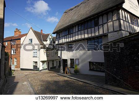 Picture of England, Norfolk, Norwich, The cobbled streets and old.