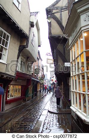 Stock Photo of york cobbled street.