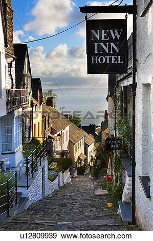 Stock Photograph of England, Devon, Clovelly. New Inn Hotel on.