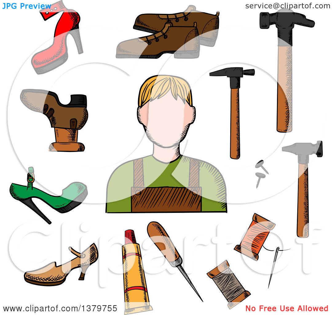 Clipart of a Sketched Cobbler and Accessories.