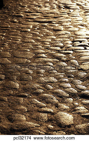 Stock Photo of Ibiza Old Town Street Cobbles pcl32174.