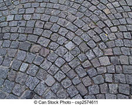 Stock Photography of Cobble stone circular pattern, background.