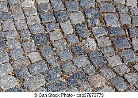 detail of cobblestone path.