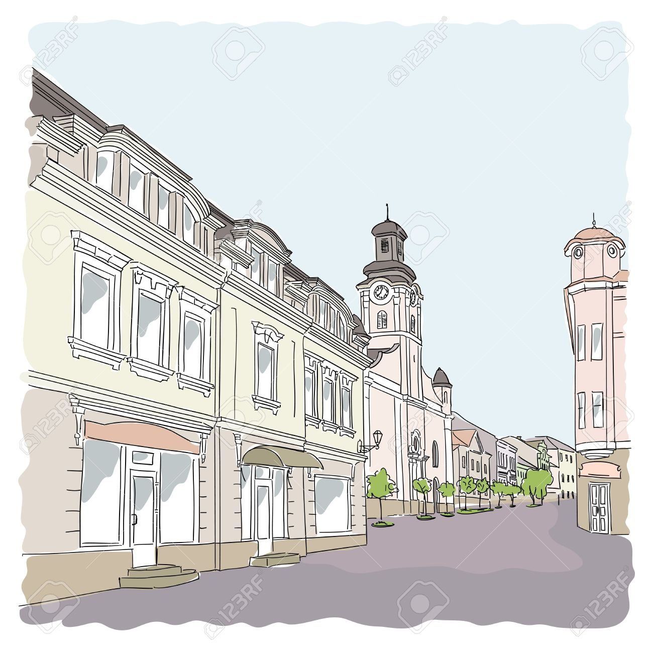 Street In The Old Town. Royalty Free Cliparts, Vectors, And Stock.