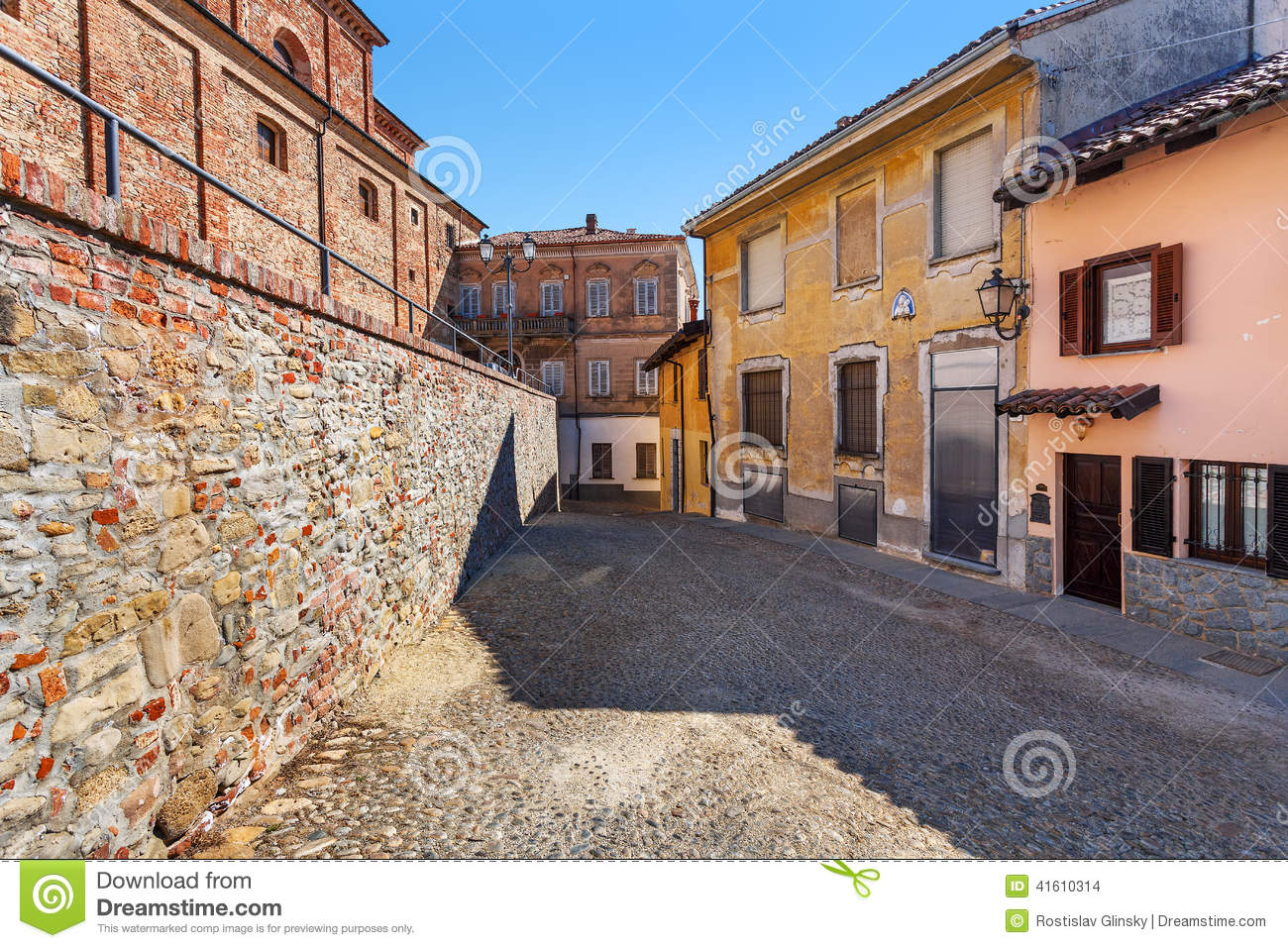 Cobblestone Brick Street Stock Photo.