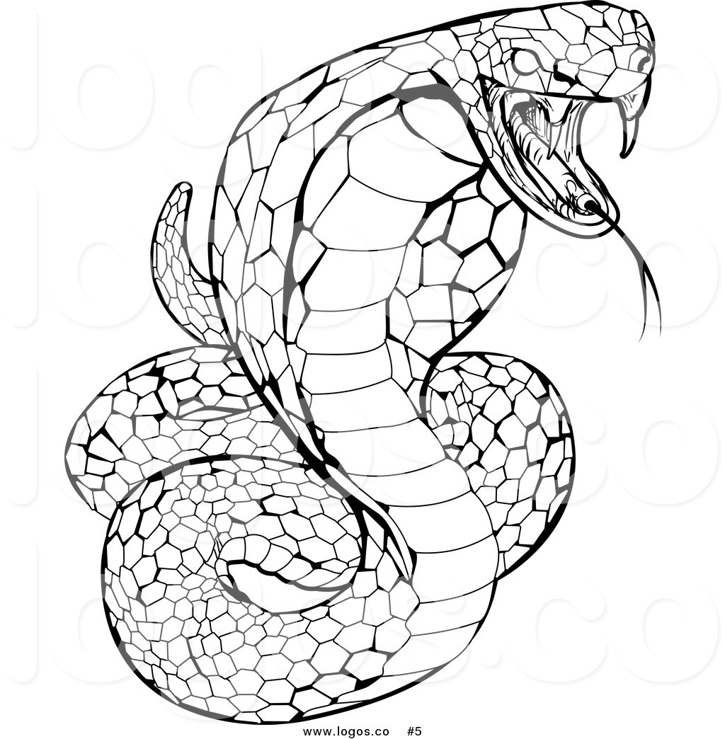 Royalty Free Stock Logo of a Black and White Venomous Cobra.