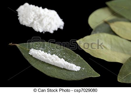 Stock Photography of Cocaine powder (substituted by flour) in line.