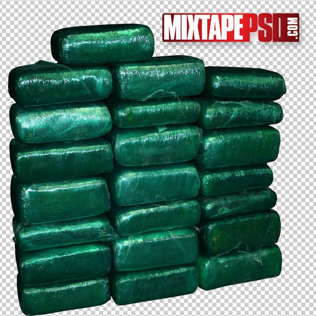HD Green Wrapped Cocaine Bricks PNG.