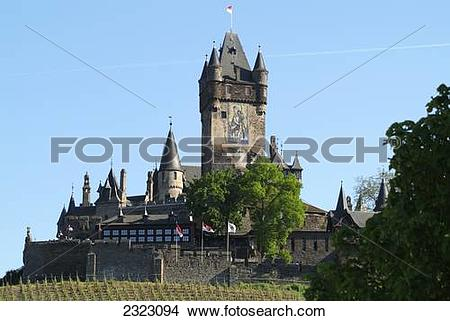Stock Photo of Low angle view of castle, Reichsburg Castle, Cochem.