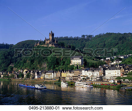 Stock Photography of Germany, Town View, Cochem Castle & Mosel.