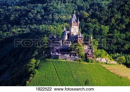 Stock Photo of Cochem Castle, Cochem, Mosel River Valley, Germany.
