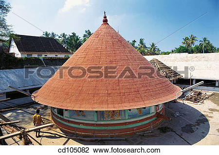 Stock Photo of Round Krishna temple. Cochin. Kerala, India.
