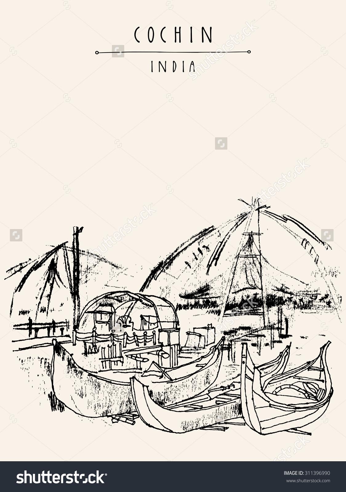 Cochin Kerala India Wooden Boats Chinese Stock Vector 311396990.