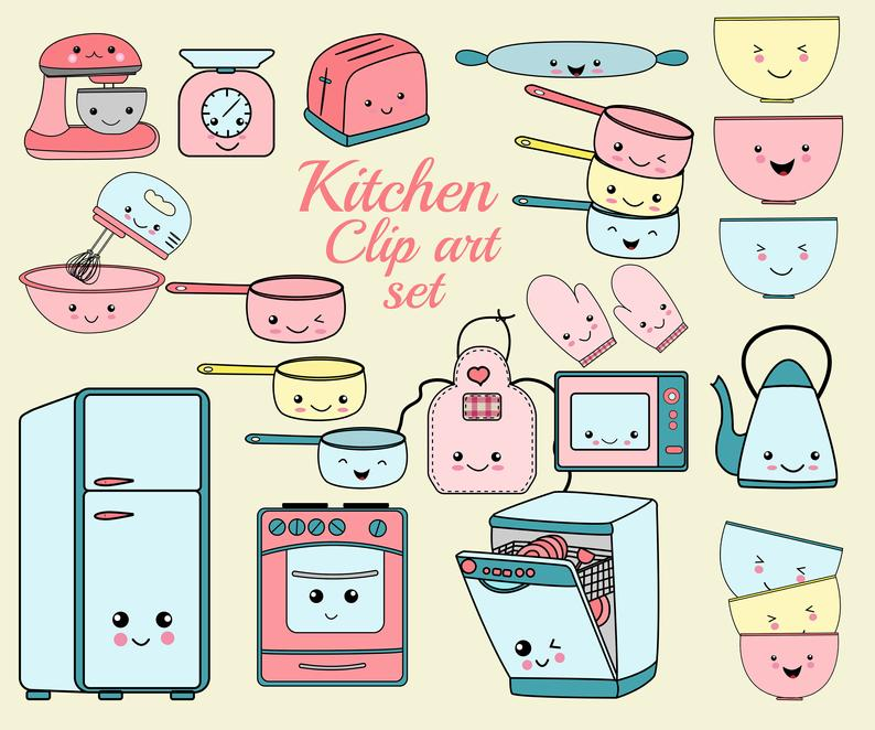 Kawaii Kitchen Clip art: