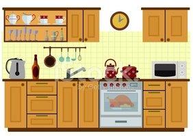 Cocina Con Muebles vectores en stock.