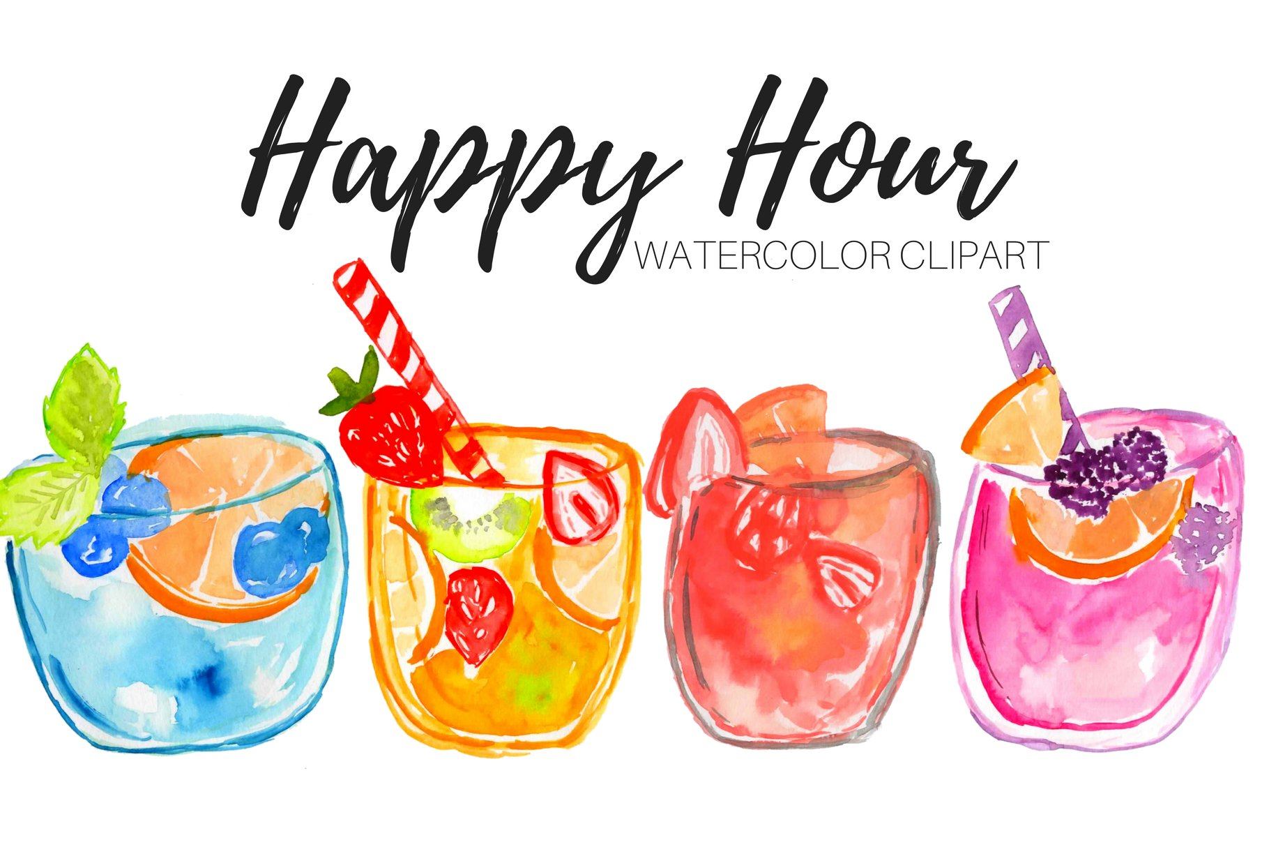 Watercolor Drinks Cocktail Clipart.