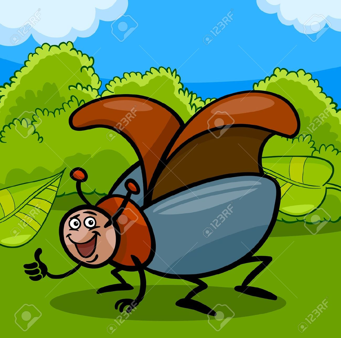 Cartoon Illustration Of Funny Beetle Or Cockchafer Insect On.