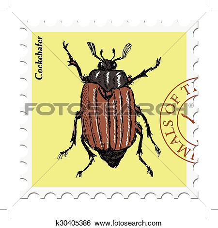 Clip Art of stamp with cockchafer k30405386.