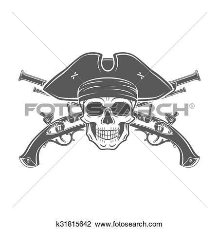 Clipart of Evil captain skull in cocked hat vector. Jolly Roger.