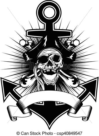 EPS Vector of Pirate skull in cocked hat.