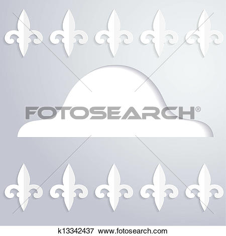 Clip Art of Abstract background with a silhouette of cocked hat.