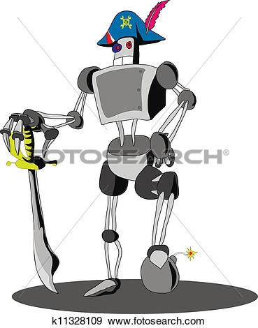 Clip Art of robot in a cocked hat k11328109.