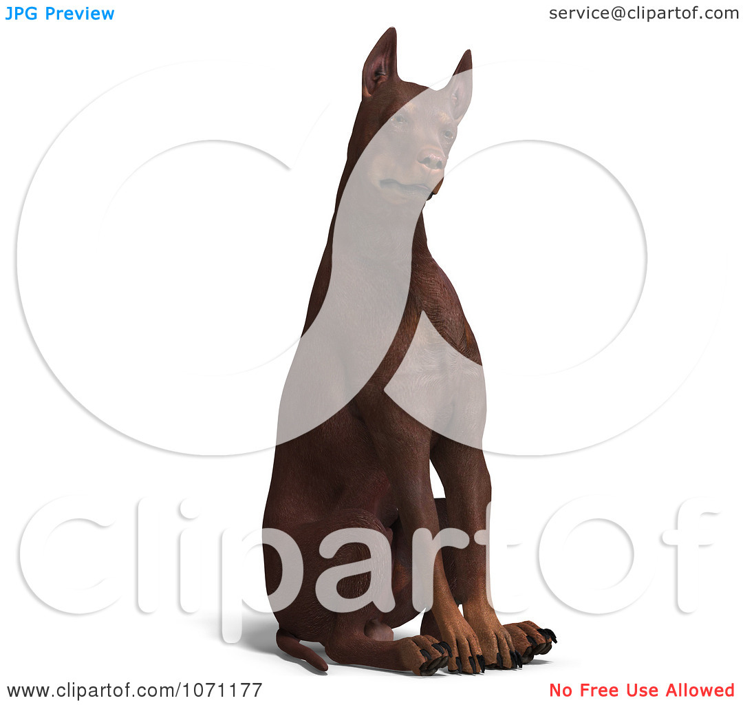 Clipart 3d Red Doberman Pinscher Dog Sitting With His Head Cocked.