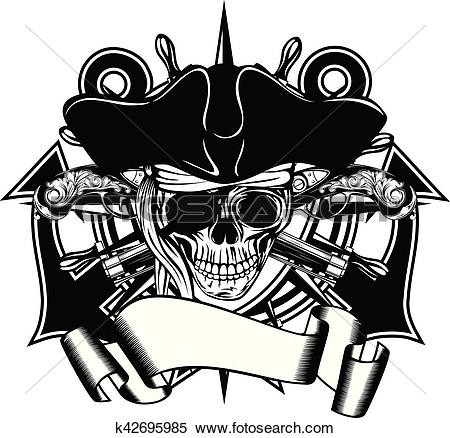 Clipart of Pirate skull cocked hat k42695985.