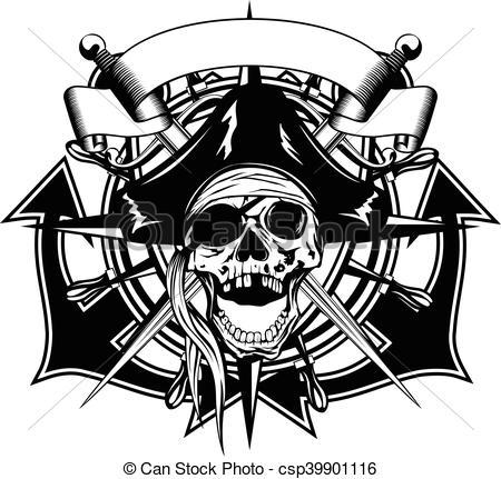 Vector Clip Art of Pirate skull cocked hat.