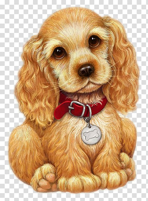 Brown English cocker spaniel puppy art, Dog Cross.