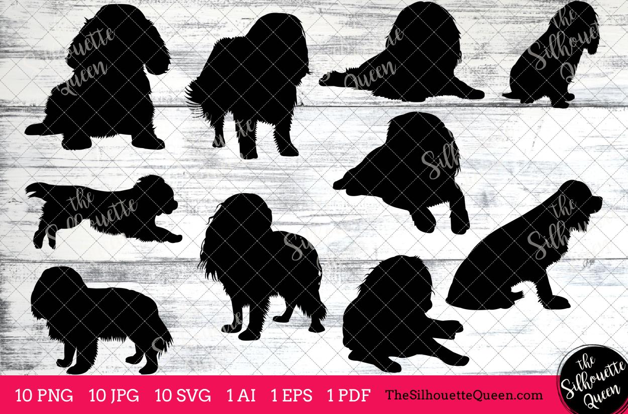 Cavalier King Cocker Spaniel Dog Silhouettes Clipart Clip Art (AI, EPS,  SVGs, JPGs, PNGs, PDF) , Vectors.