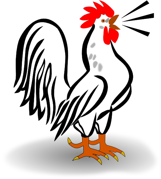 Rooster Crowing Clipart.