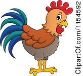 Clipart of a Cute Rooster with a Colorful Tail.