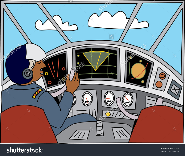 Black Pilot Cockpit Flying Plane Stock Vector 99856790.