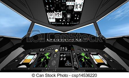 Clip Art of cockpit of airplane csp14536220.