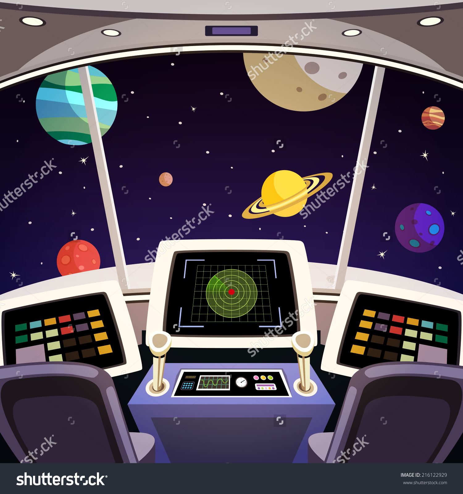 Space shuttle cockpit clipart.