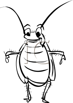 Black and White Cartoon Cockroach.
