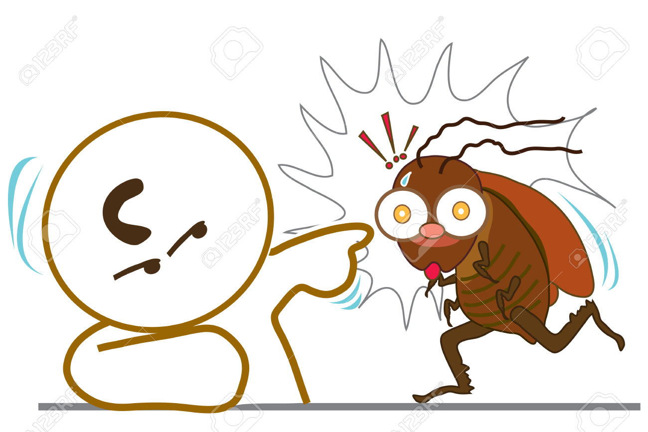 Man Point To Cockroach Stop Walk Royalty Free Cliparts, Vectors.