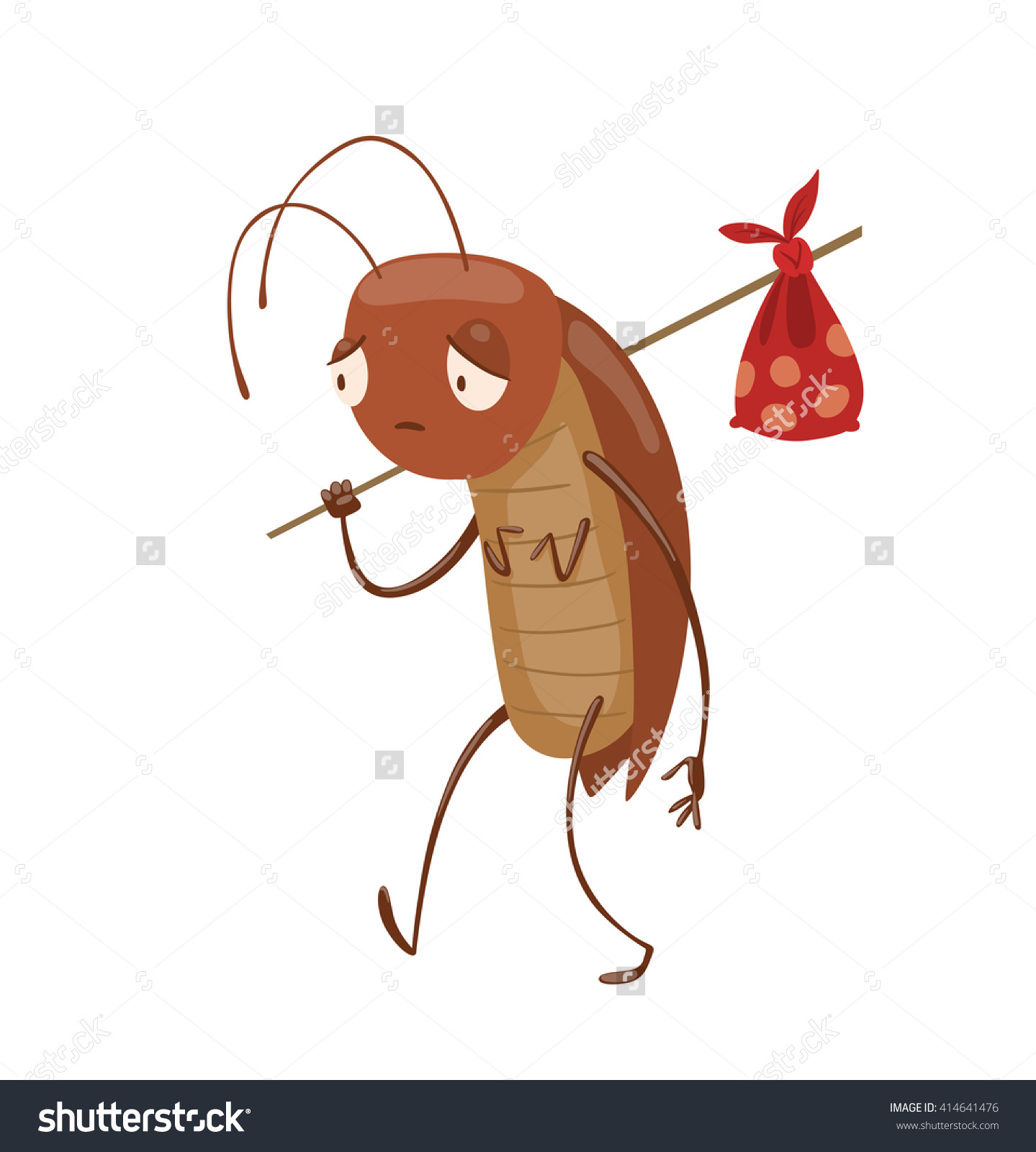 Vector Cartoon Image Funny Brown Cockroach Stock Vector 414641476.
