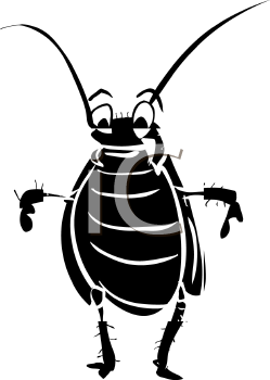Royalty Free Clip Art Image: Cockroach Silhouette.