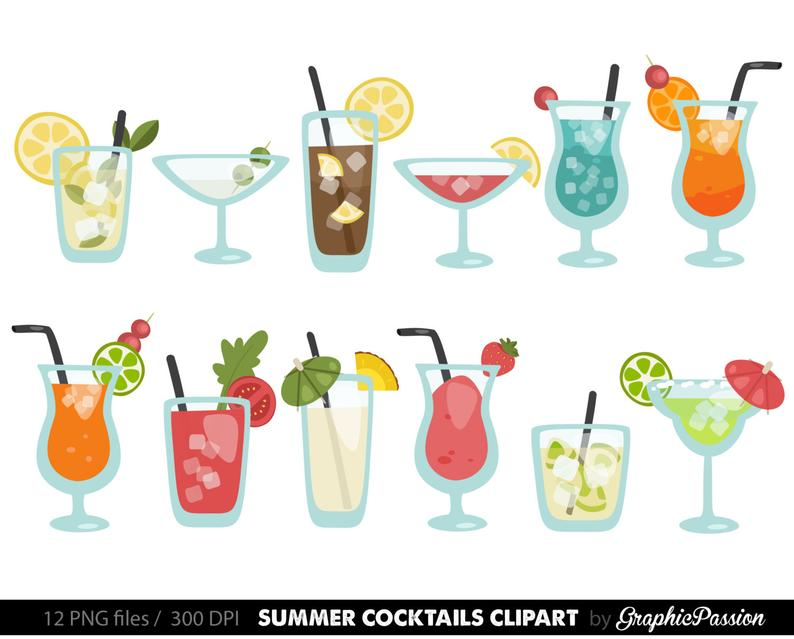 Summer Cocktails Clipart Cocktail Clip Art Summer Clip art Drinks Clipart  Cocktails Vector Digital Cocktails Summer cocktail party.